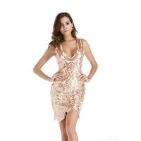 Sexy Dress Female Europe And The United States Backless Dress V Neck Irregular Hem Dress Women's Sarafan Sheath Bodycon Sequin