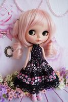 89 Cute Handmade Lolita Black Pink Dress For Takara Blythe Pullip Doll