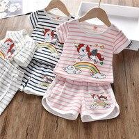 2019 комплект летней одежды для маленьких девочек, Милая футболка с единорогом, шорты, Изысканная одежда для детей, комплекты для малышей