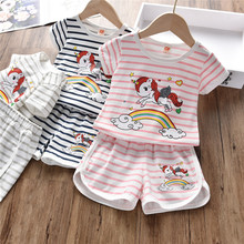 цены на 2019 Baby Girl Summer Clothing Set Cute Unicorn T-shirt Shorts Boutique Outfit for Kid Clothes Toddler Children Infant Sets  в интернет-магазинах