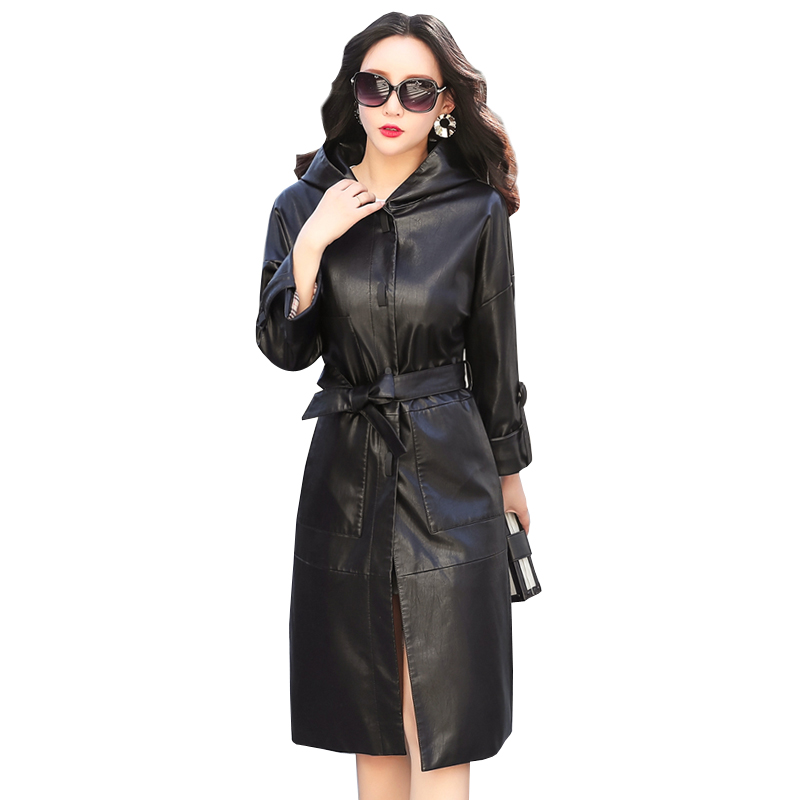 Women Faux   Leather   Jacket With Belt 2018 Autumn Winter Ladies New Hooded Washed PU   Leather   Trench Coats Female Long Outerwear