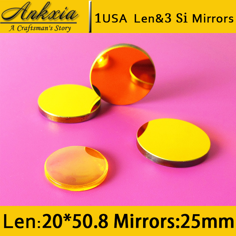 1PCS Dia 20mm Length 50.8mm USA ZnSe Co2 Laser Focus Len and 3PCS 25mm Silicon Mirrors for Cutter Engraving Machine  цены