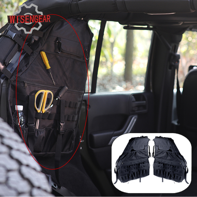 2x Black Roll Bar Storage Bag Luggage Saddlebag For Jeep