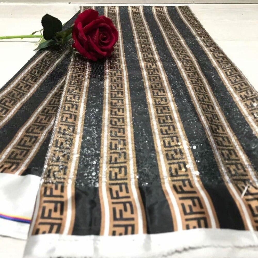 2019 drukuj cekiny haft afryki wysokiej jakości koronki netto, francuski woal z gipiury tkanina z koronki tiulowej do sukni 5yd/lot YL1118 w Koronka od Dom i ogród na  Grupa 1