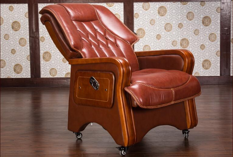 Купить с кэшбэком Real leather reclining chair. Solid wood four-legged computer chair. Fixed armrest leather art office chair.028