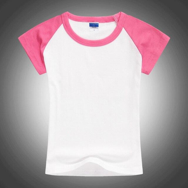 1 pc ילדים הקמעונאי מותג כותנה חולצה תינוקת בגדי ילדי ילדה קיץ ורוד לבן שרוול קצר t חולצה משלוח חינם