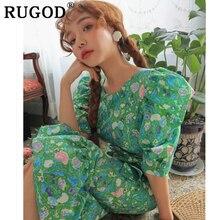 RUGOD Korean chic flower printed women dress Elegant ruffles Puff sleeve long dresses vestidos 2019 summer beach female