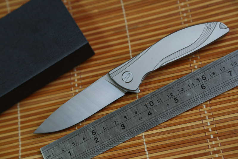 JUFULE Small Neon Dmitry Sinkevich Custom oem ball bearing D2 titanium flipper folding hunting outdoor survive