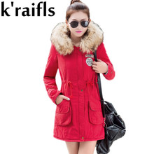 k'raifls New Long Parkas Female Womens Winter Jacket Coat Thick Cotton Warm Jacket Womens Outwear Parkas Plus Size Fur Coat 2017