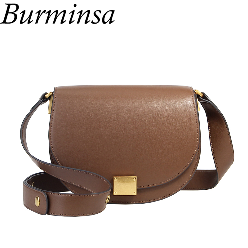 Burminsa Half Round Saddle Women Genuine Leather Bags Wide Strap Shoulder Messenger Bags High Quality Ladies