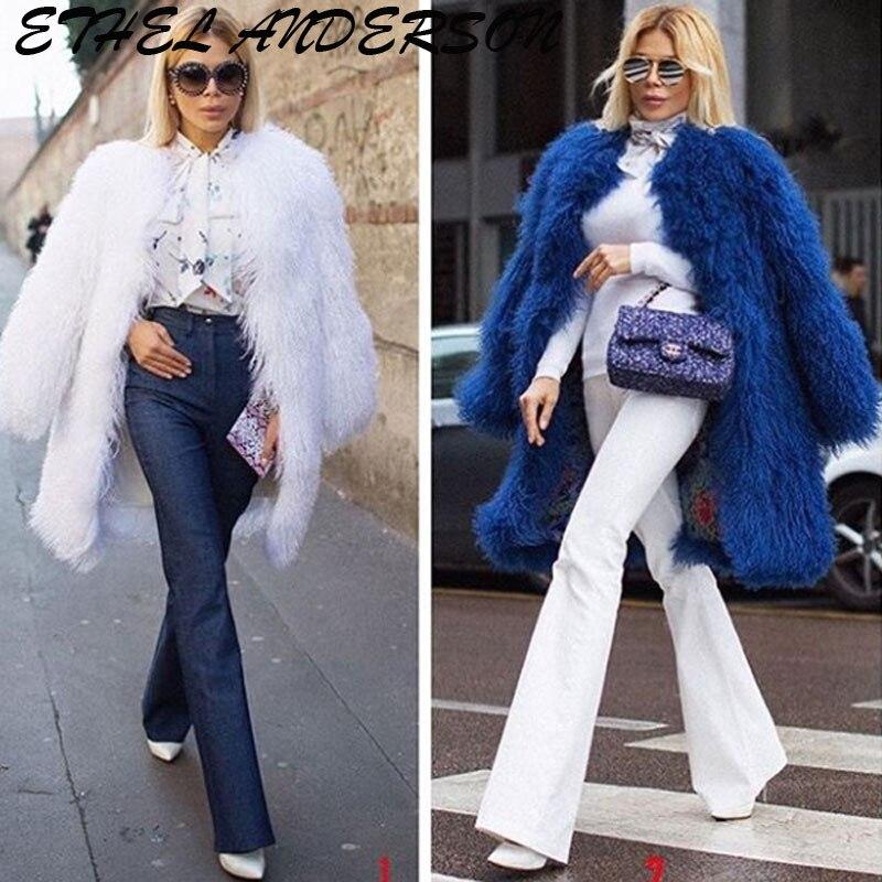 Abrigos de piel de oveja Ethel Anderson para mujer 100CM chaqueta de piel de cordero auténtica Wam piel de oveja abrigo abrigos para mujer