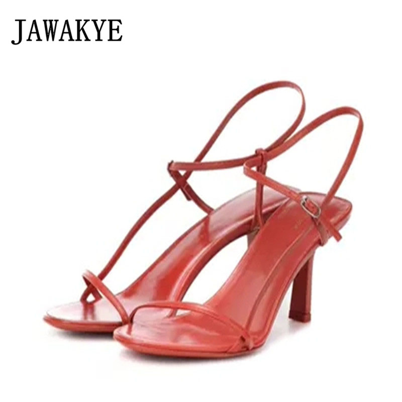Word Buckle Strap Women Sandals Leather Thin High Heels Shoes Woman kittens Shallow Women Sandals Summer