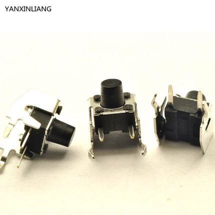 20pcs/lot 6x6x7MM Right Angle 4PIN Tactile Tact Push Button Micro Switch Direct Plug-in Self-reset DIP Free Shipping