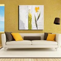 Hotselling online wholesale cheap price simple yellow flower oil painting art handmade acrylic oil on canvas unframed
