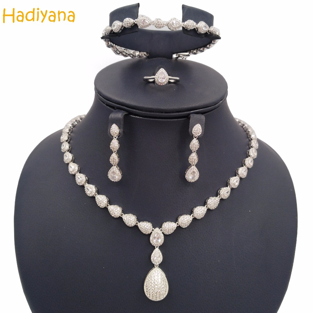 Hadiyana Sparkling Oval Shape Cubic Zircon 4pcs Bridal Jewelry Set For Women New Fashion Wedding Party Jewelry Design Sets CN129 цены онлайн
