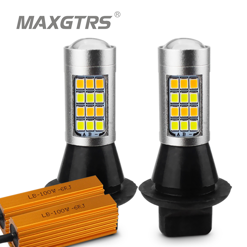 2x Dual Color 42SMD 2835 T20 7440 W21W LED Bulbs For Front Turning Lights Signal DRL Error Free Canbus White/Ice Blue & Amber