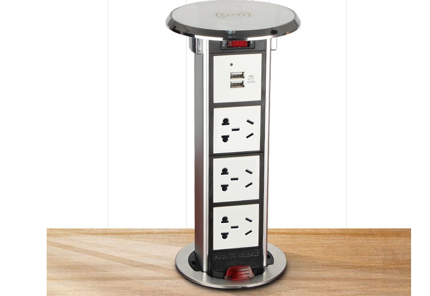 Levage sans fil charge USB charge top pop up caché prise de téléphone maison cuisine bureau Solutions d'alimentation