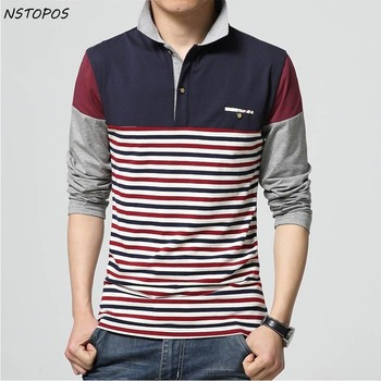 5XL Mens Stripe Polo Shirts 2016 Polo Homme Marque Brand Men Polo Shirt Long-Sleeve Slim Fit Shirt Men Cotton Casual Shirts