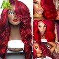 7А Класс Красный Человеческих Волос Парики Glueless Полные Парики Шнурка Бразильских девственные Волосы Кружева Перед Парики 130 Плотность Объемная Волна Человеческих Волос парики
