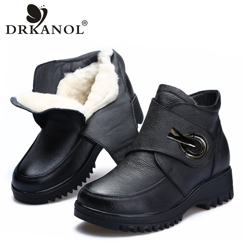 DRKANOL Genuine Cow Leather Natural Thick Wool Fur Women Winter Snow Boots Wedge Platform Ankle Boots
