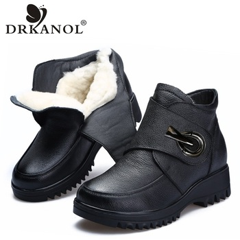 DRKANOL Genuine Cow Leather Natural Thick Wool Fur Women Winter Snow Boots Wedge Platform Ankle Boots For Women Warm Shoes H885F allbitefo natural genuine leather snake texture cow leather women ankle boots fashion sexy motorcycle boots girls winter shoes