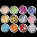 12 Mix Colors Nail Art Acrylic Glitter Flower Stars Sequin Tips Home Salon Sets