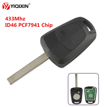 YIQIXIN 2 Button Remote Control Car Key 433Mhz PCF7941 Chip For Opel Vauxhall Astra H Corsa D Zafira B Uncut Blank HU100 Blade