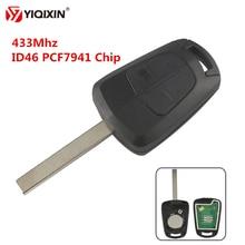 YIQIXIN 2 Button Remote Control Car Key 433Mhz PCF7941 Chip For Opel Vauxhall Astra H Corsa D Zafira B Uncut Blank HU100 Blade