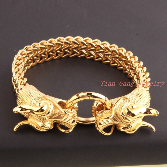 New Fashion Mens Punk Jewelry Strand Bracelets Bangles Gold
