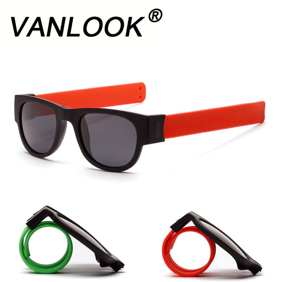 Braccialetto schiaffo Occhiali Da Sole Polarizzati Donne Slappable Occhiali Da Sole per Gli Uomini Wristband Fold Shades Oculos Moda Colorata Specchio