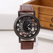 Лидер продаж Мода Скелет кожа часы Для мужчин гравировка полые Reloj Hombre кварцевые наручные часы Военные Для женщин часы Relojes Mujer