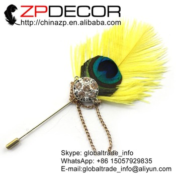 Retail and Wholesale from ZPDECOR Yellow Ostrich Feather Handmade Lapel Pin with Crystal Brooch