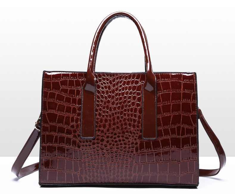 Kadın çantası lüks yüksek kaliteli klasik timsah desen çanta marka tasarımcısı büyük kapasiteli OL omuz askılı çanta C824