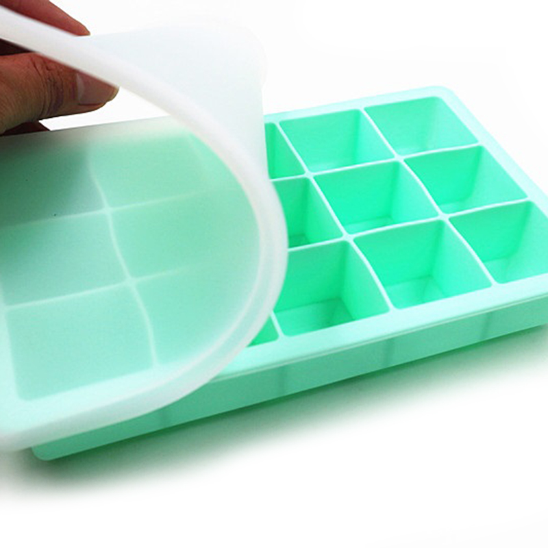 Food Grade Silicone Ice Cube Mold Square Shape Tray Fruit Popsicle Ice Cream Maker for Drinking Wine Beer Household Summer Tools