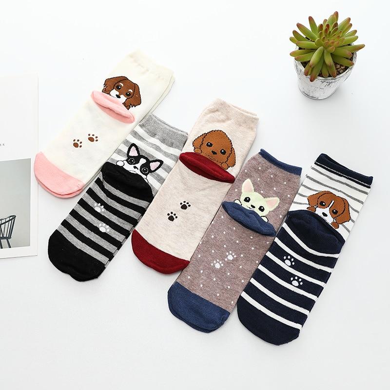 V-Hanver New 1Pair Cotton   Socks   Women Low Stripe Cat Ped Cute Cartoon Animal Happy Horsiery Winter Warm For Christmas Hosiery