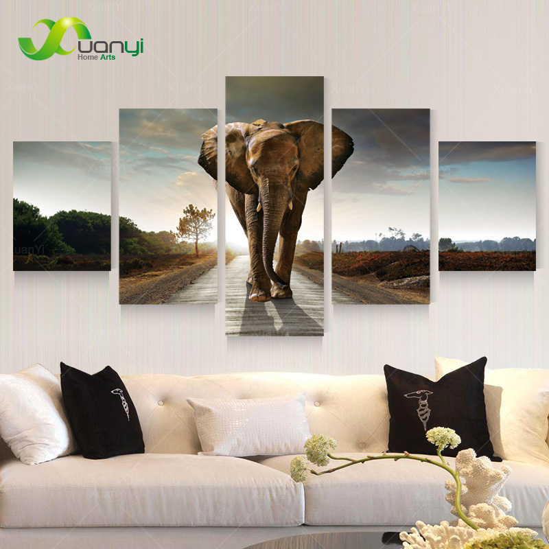 wall portraits living rooms. 5 Panel Large Modern Printed Elephant Oil Painting Picture Cuadros  Decoracion Canvas Wall Art For Living Room Unframed PR930A in Calligraphy from