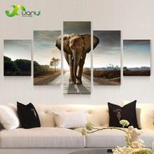 5 Панель Большой Современный Напечатаны Слон Картина Маслом Фото Cuadros Decoracion Холст Wall Art Для Гостиной Unframed PR930A
