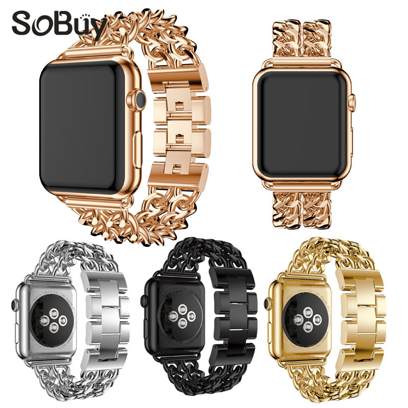 So buy alloy stainless steel watch strap for apple watch band 42mm 38mm bracelet wirst strap for iwatch 1/2/3 metal watch band
