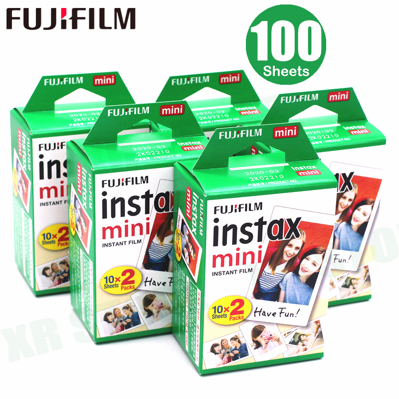 100 Sheets Fujifilm Instax Mini 8 film for Fuji 7s 9 70 25 50s 90 Instant Photo Camera White FilmShare SP-1 SP-2 5 packs fuji fujifilm instax mini instant film monochrome photo paper for mini 8 7s 7 50s 50i 90 25 dw share sp 1 cameras