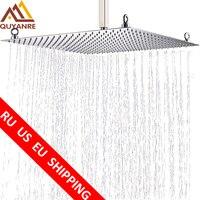 Luxury 20inch Chrome Rainfall Shower Head Ultrathin Rain Shower Ceiling Mount Stainless Stell Shower Head Bathroom Shower Faucet