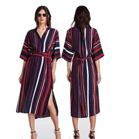 Hot 2018 Spring Summer Women's Multi color Striped Long Dress Female T Shirt Dress Women Clothing