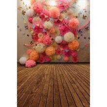 Vinil Rosa Coral Creme Flores De Papel de Parede Backdrop Fotografia Bandeiras da Festa de Aniversário Do Bebê Da Menina do Fundo Da Foto