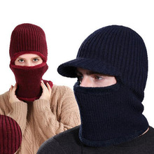 Унисекс для взрослых, зимний теплый шарф с капюшоном, короткая плюшевая подкладка, вязаная шапка в рубчик, шапки, кольцевой шарф для мужчин и женщин, MZ5336