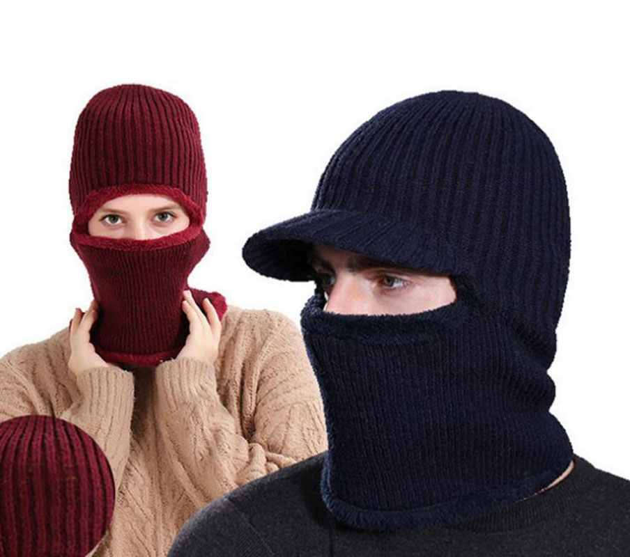 Unisex Adult Winter Warm Hooded Scarf Short Plush Lining Ribbed Knitted Hat Caps Ring Scarf For Men Women MZ5336
