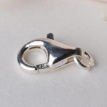 Fecho sólido da garra da lagosta da prata esterlina 925, fecho instantâneo com 1 anel aberto 8-16mm do salto