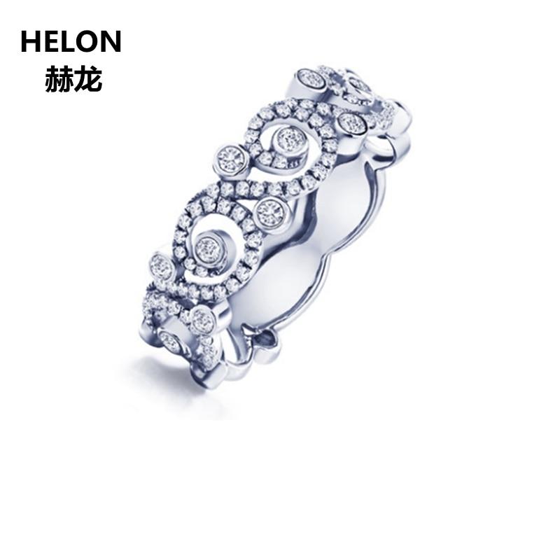0.41ct SI/H натуральные Алмазы обручальные кольца для женщин Твердые 14 К белого золота браслет в Подарок на годовщину свадьбы роскошный розовое