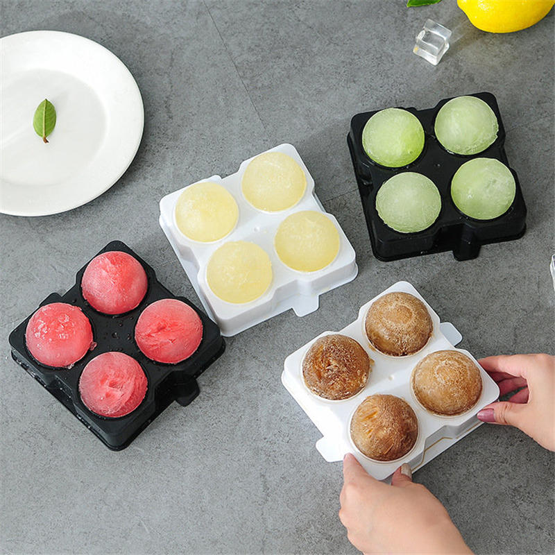 DoreenBeads 1 Set 4 Cells Plastic Ice Mold Ice Tray Tubs Round Ball Shape Summer Home Kitchen Bar Ice Box Supplies 14.1*14.1 cm