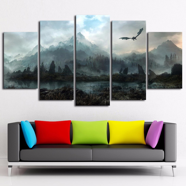 5 Piece HD Wall Art Picture Game of Thrones Dragon Skyrim Oil Painting Mural on Canvas for Living Room Decor 3