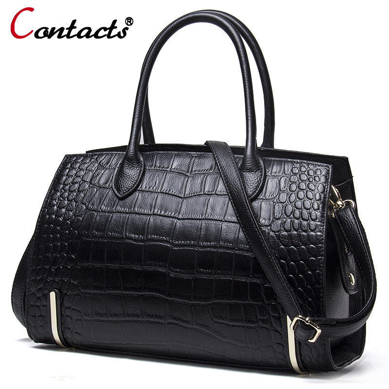 Contacts women leather handbags genuine leather messenger bag female shoulder bag Alligator luxury handbags women bags designer