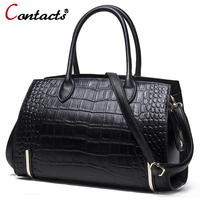 Contact's women leather handbags genuine leather messenger bag female shoulder bag Alligator luxury handbags women bags designer